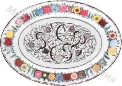 Блюдо овальное с надписью «РСФСР» и цветочной росписью по борту