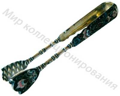 Щипцы для сахара украшенные полихромными эмалями по скани