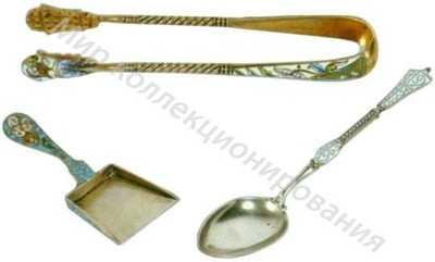 Набор для чаепития: совочек для раскладки пирожного, щипцы для сахара, чайная ложка