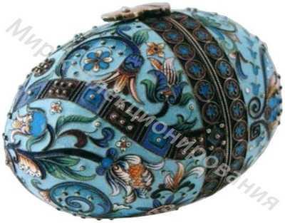 Яйцо пасхальное, украшенное полихромными эмалями по скани