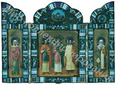 Складень трехстворчатый с изображением Святых