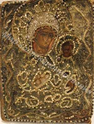 Икона Иверской Богородицы. Шитье. Бисер.