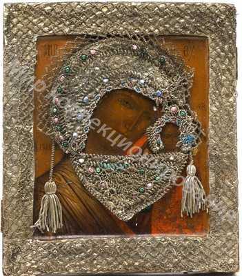 Икона Казанской Божией Матери в бисерном (+стеклярус) окладе,Поволжье,19ый век
