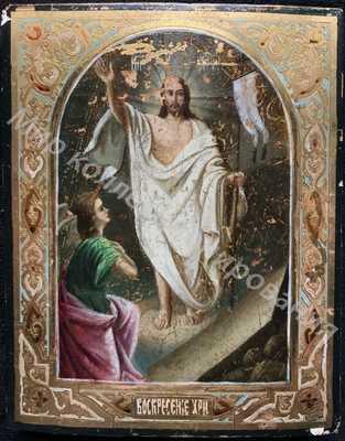 Икона Воскресение Христово. Сусальное золото.
