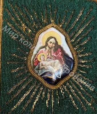 Икона Умиление Богородица  финифть 18 век, шитьё, бисер.