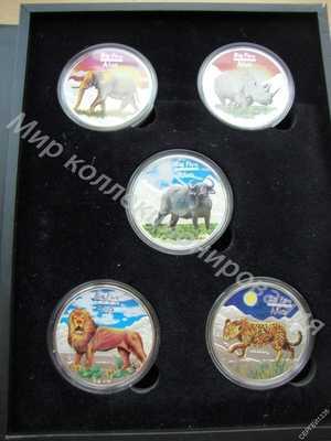 Конго 240 франков 2008 Животные Большая Африканская пятерка НАБОР 5 монет Лев Буйвол Леопард СЕРЕБРО