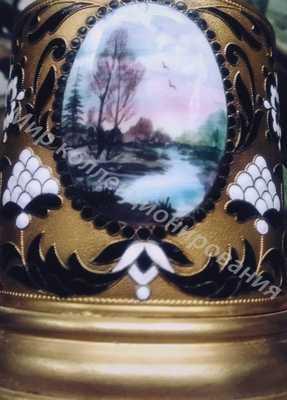 Подстаканник эмаль с медальоном  Пейзаж