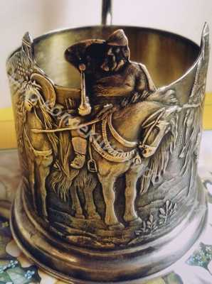 Подстаканник  Три богатыря Серебро 875 пр. вес 170гр,МЮФ