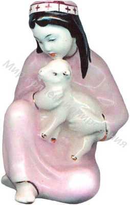 Статуэтка Девочка с ягненком Гжель