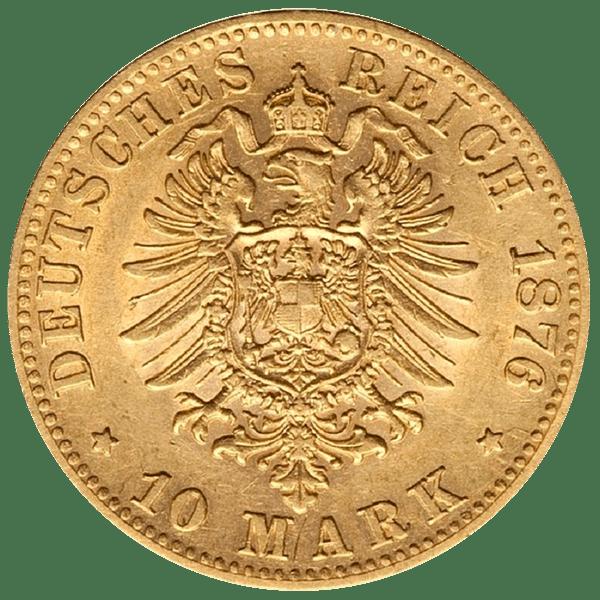 10 марок 1876 года. Германская Империя. Вюртемберг