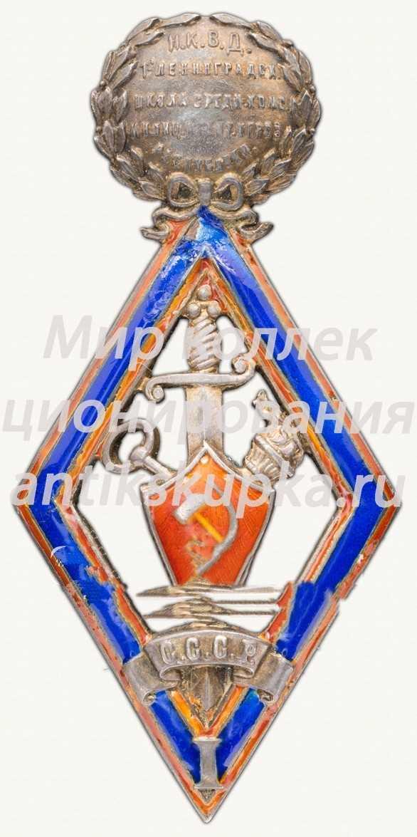 Знак выпускника 1-й Ленинградской школы среднего комсостава милиции и агентов уголовного розыска республики, 1 выпуск, 25 августа 1924 года